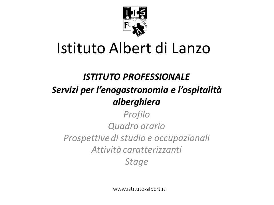 Istituto Albert di Lanzo ISTITUTO PROFESSIONALE Servizi per l'enogastronomia e l'ospitalità alberghiera Profilo Quadro orario Prospettive di studio e