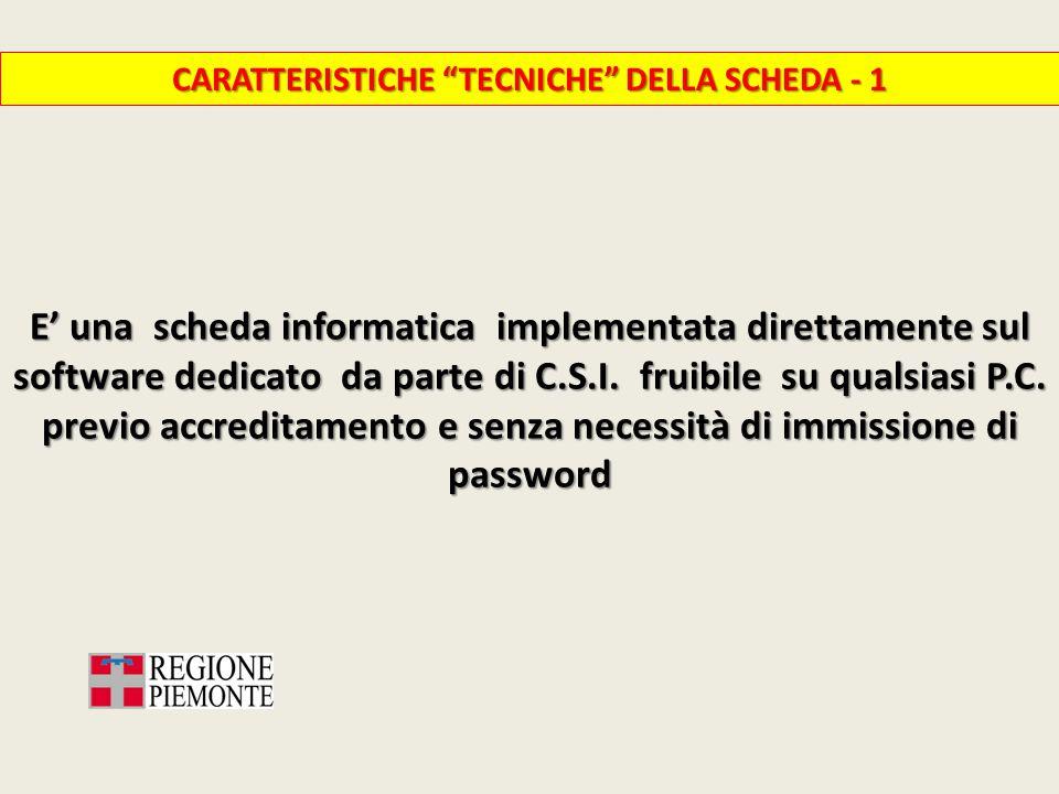 CARATTERISTICHE TECNICHE DELLA SCHEDA - 1 E' una scheda informatica implementata direttamente sul software dedicato da parte di C.S.I.