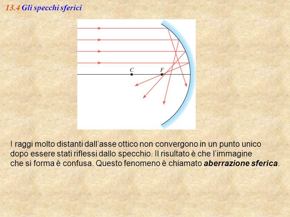 13.4 Gli specchi sferici I raggi molto distanti dall'asse ottico non convergono in un punto unico dopo essere stati riflessi dallo specchio. Il risult
