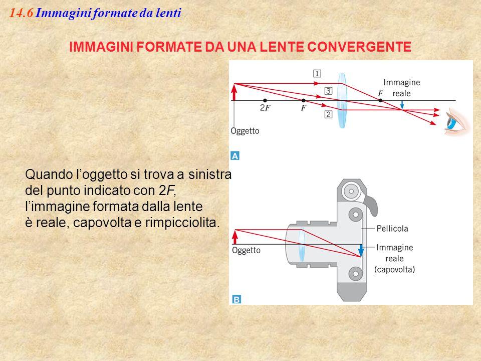 14.6 Immagini formate da lenti IMMAGINI FORMATE DA UNA LENTE CONVERGENTE Quando l'oggetto si trova a sinistra del punto indicato con 2F, l'immagine fo