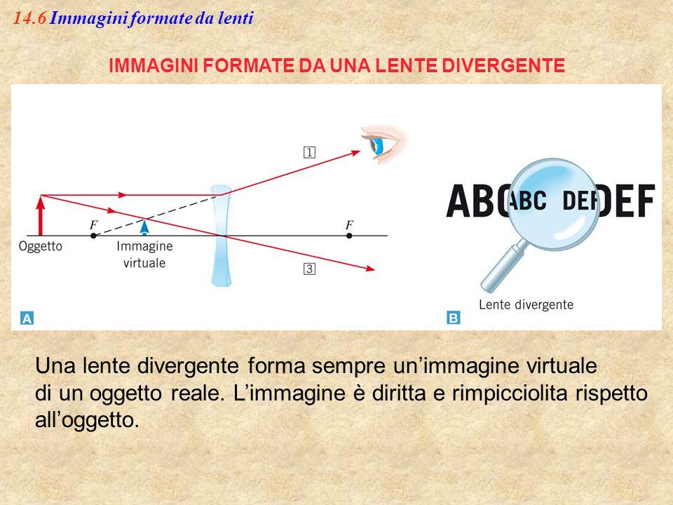 14.6 Immagini formate da lenti IMMAGINI FORMATE DA UNA LENTE DIVERGENTE Una lente divergente forma sempre un'immagine virtuale di un oggetto reale. L'