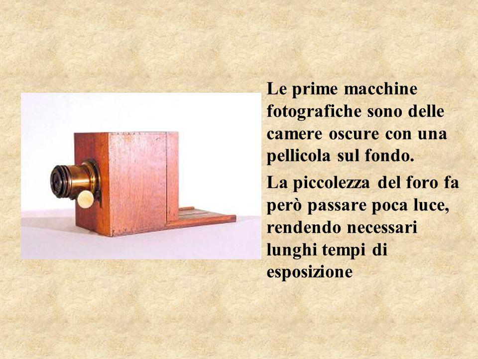 Le prime macchine fotografiche sono delle camere oscure con una pellicola sul fondo. La piccolezza del foro fa però passare poca luce, rendendo necess