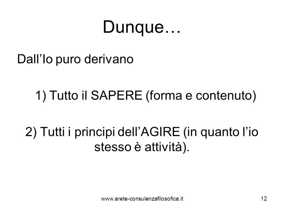 Dunque… Dall'Io puro derivano 1) Tutto il SAPERE (forma e contenuto) 2) Tutti i principi dell'AGIRE (in quanto l'io stesso è attività). www.arete-cons