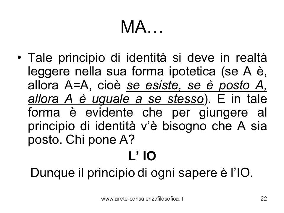 MA… Tale principio di identità si deve in realtà leggere nella sua forma ipotetica (se A è, allora A=A, cioè se esiste, se è posto A, allora A è ugual