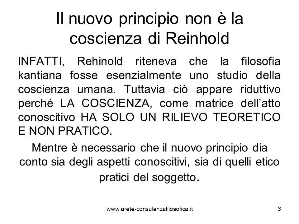 Il nuovo principio non è la coscienza di Reinhold INFATTI, Rehinold riteneva che la filosofia kantiana fosse esenzialmente uno studio della coscienza