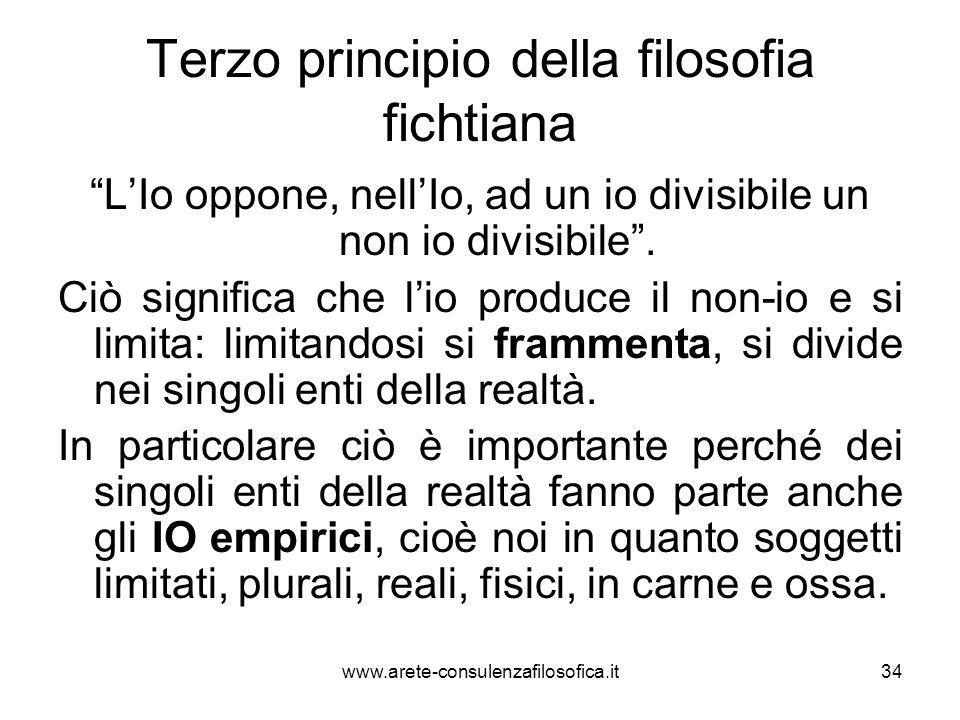 """Terzo principio della filosofia fichtiana """"L'Io oppone, nell'Io, ad un io divisibile un non io divisibile"""". Ciò significa che l'io produce il non-io e"""