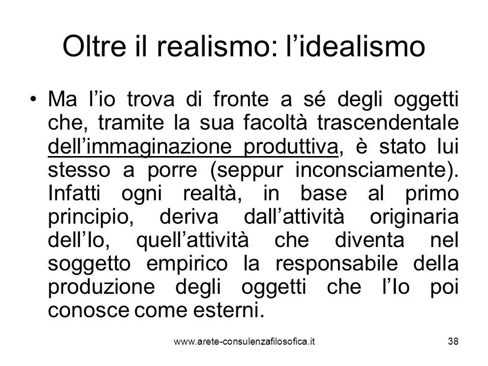 Oltre il realismo: l'idealismo Ma l'io trova di fronte a sé degli oggetti che, tramite la sua facoltà trascendentale dell'immaginazione produttiva, è