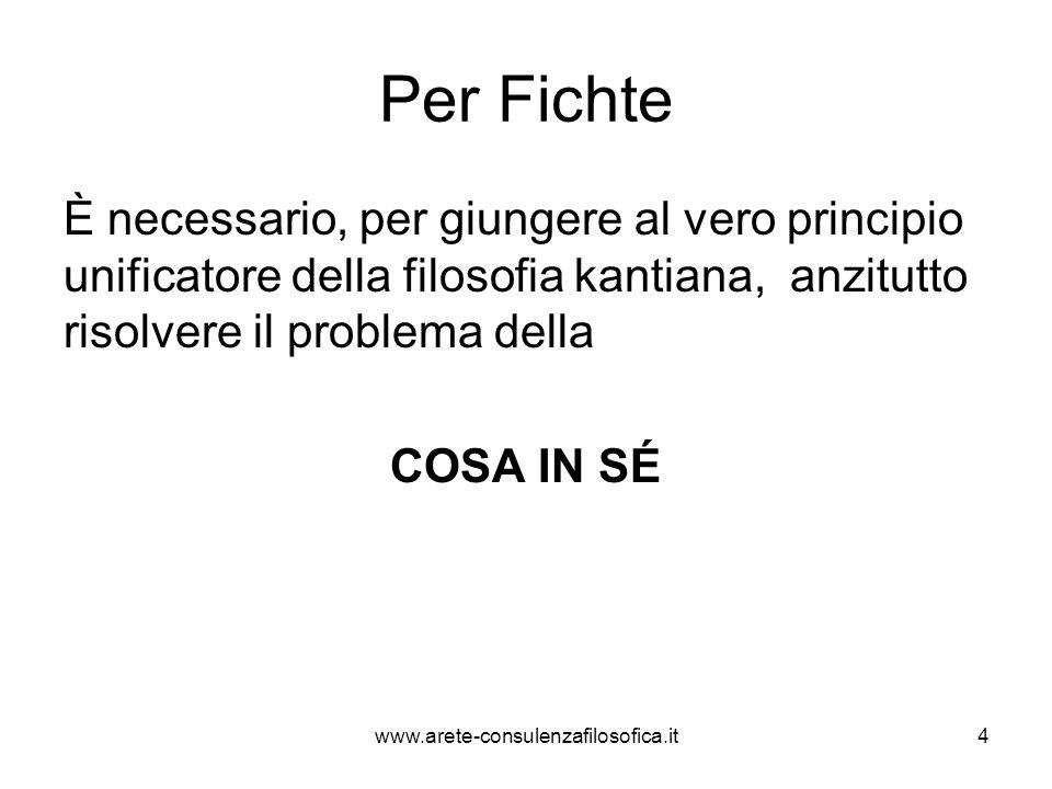 Per Fichte È necessario, per giungere al vero principio unificatore della filosofia kantiana, anzitutto risolvere il problema della COSA IN SÉ www.are