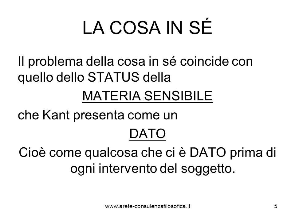 LA COSA IN SÉ Il problema della cosa in sé coincide con quello dello STATUS della MATERIA SENSIBILE che Kant presenta come un DATO Cioè come qualcosa
