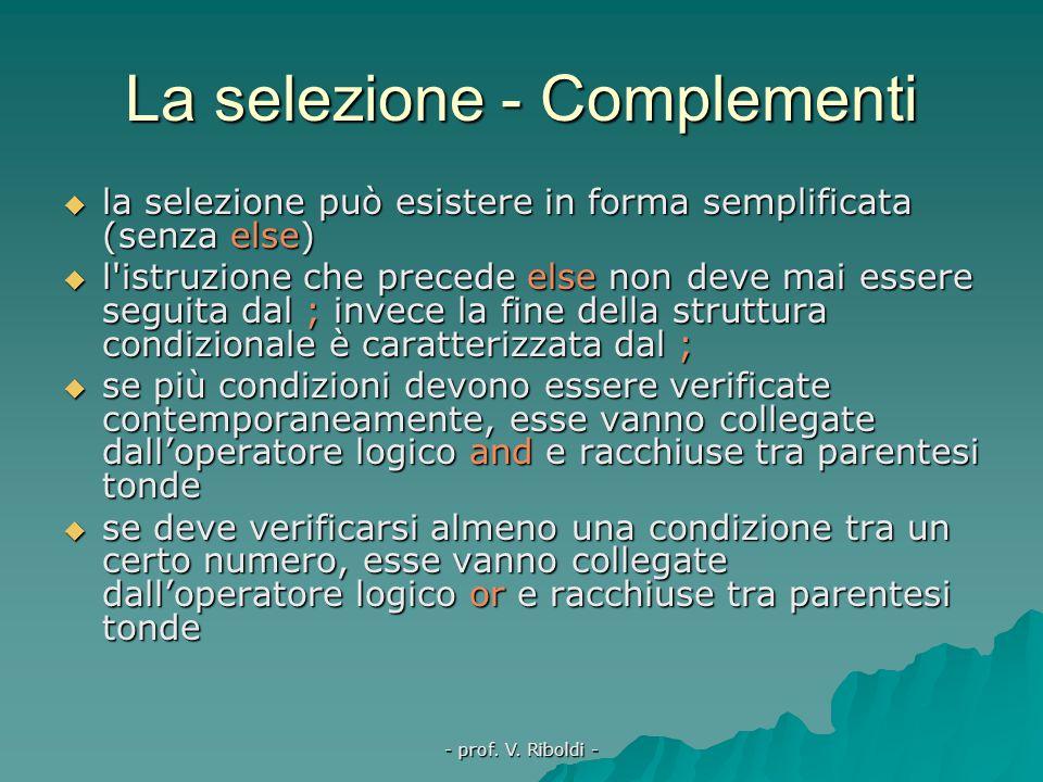 - prof. V. Riboldi - La selezione binaria  scelta tra due possibilità alternative  if proposizione then istruzione1 else istruzione2  se le istruzi