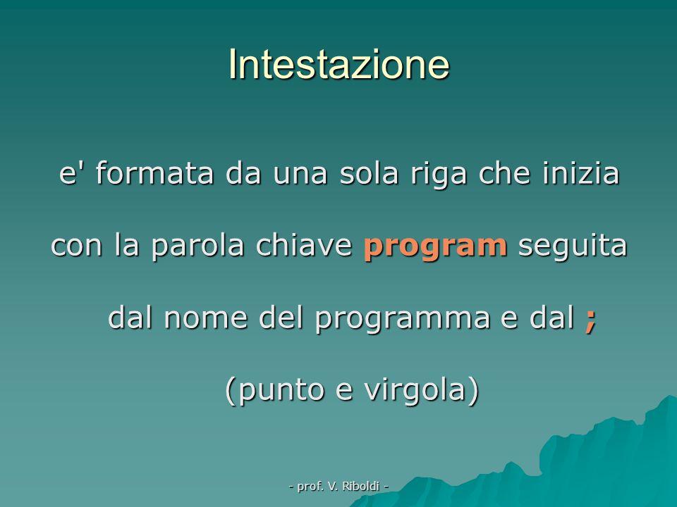 - prof. V. Riboldi - In un programma TP si distinguono le seguenti parti:  intestazione  sezione delle dichiarazioni  corpo del programma