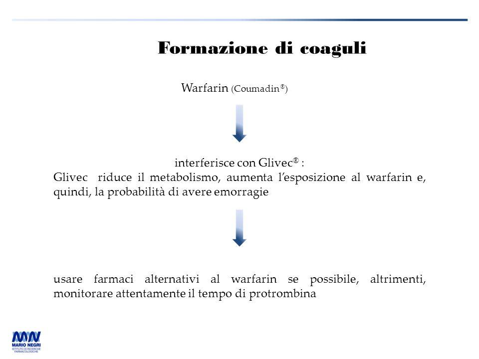 Formazione di coaguli Warfarin (Coumadin ® ) interferisce con Glivec ® : Glivec riduce il metabolismo, aumenta l'esposizione al warfarin e, quindi, la