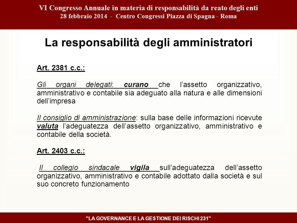 VI Congresso Annuale in materia di responsabilità da reato degli enti 28 febbraio 2014 - Centro Congressi Piazza di Spagna - Roma LA GOVERNANCE E LA GESTIONE DEI RISCHI 231 Art.