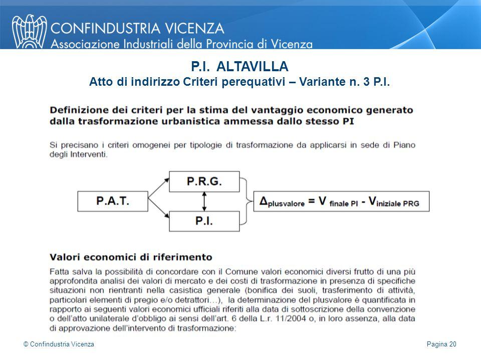 P.I. ALTAVILLA Atto di indirizzo Criteri perequativi – Variante n. 3 P.I. Pagina 20 © Confindustria Vicenza