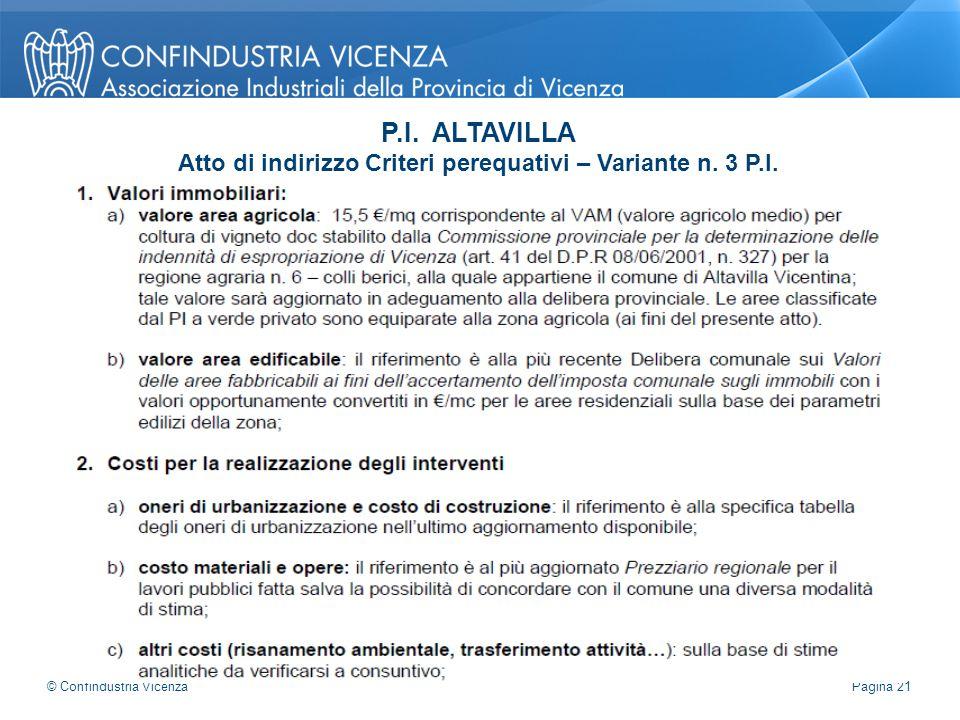 P.I. ALTAVILLA Atto di indirizzo Criteri perequativi – Variante n. 3 P.I. Pagina 21 © Confindustria Vicenza