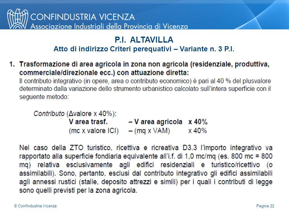 P.I. ALTAVILLA Atto di indirizzo Criteri perequativi – Variante n. 3 P.I. Pagina 22 © Confindustria Vicenza