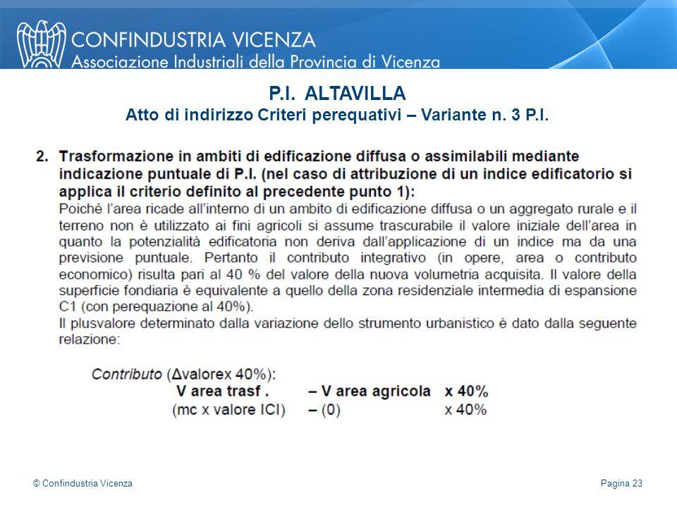P.I. ALTAVILLA Atto di indirizzo Criteri perequativi – Variante n. 3 P.I. Pagina 23 © Confindustria Vicenza