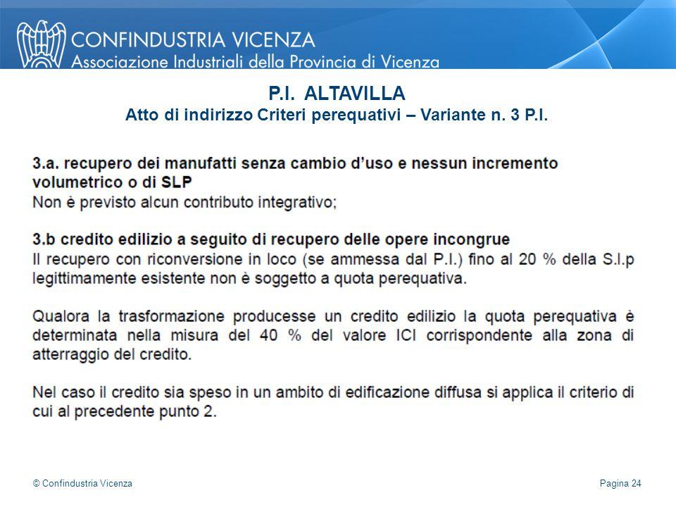 P.I. ALTAVILLA Atto di indirizzo Criteri perequativi – Variante n. 3 P.I. Pagina 24 © Confindustria Vicenza