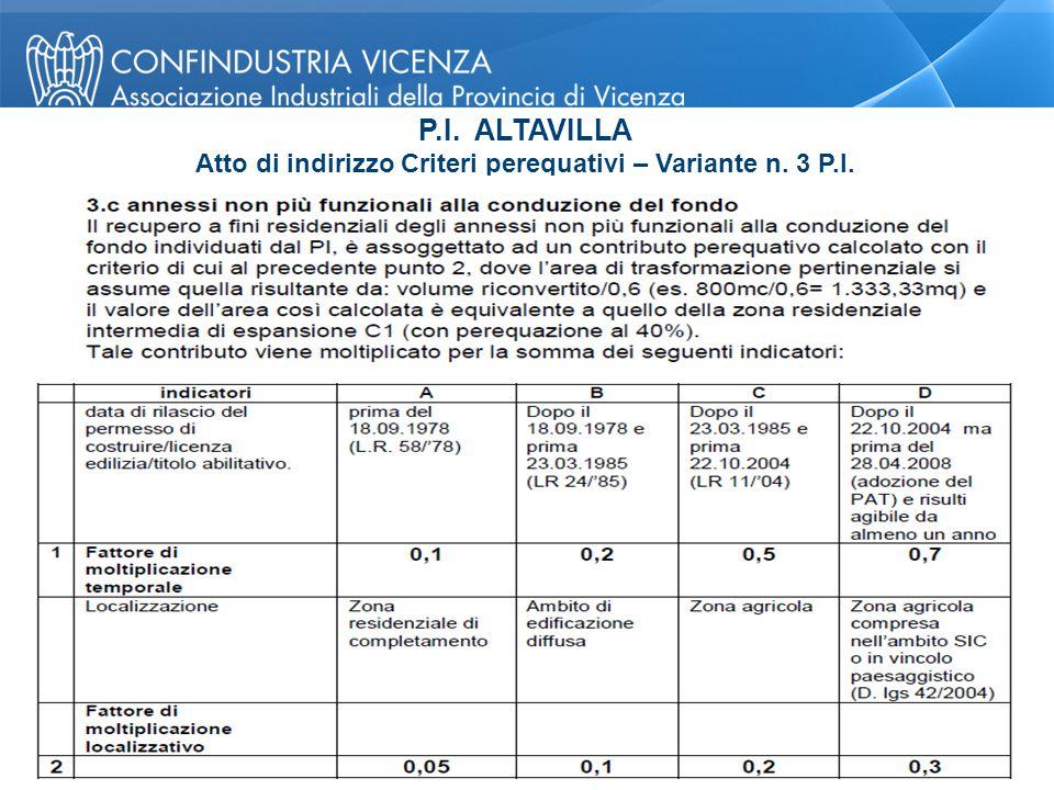 P.I. ALTAVILLA Atto di indirizzo Criteri perequativi – Variante n. 3 P.I. Pagina 25 © Confindustria Vicenza