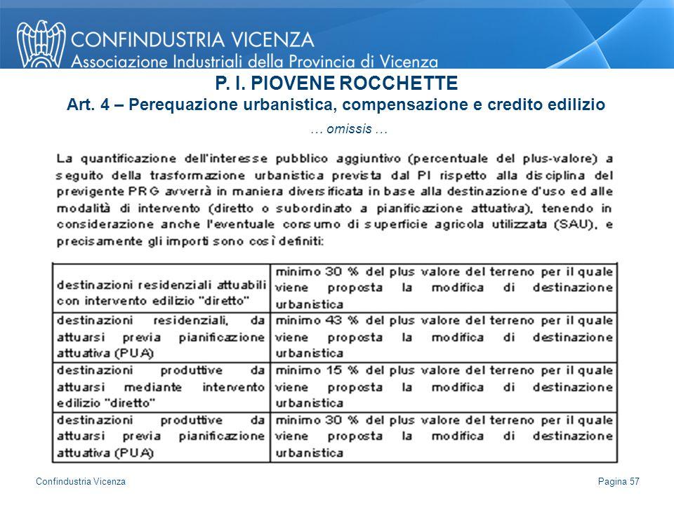… omissis … P. I. PIOVENE ROCCHETTE Art. 4 – Perequazione urbanistica, compensazione e credito edilizio Pagina 57 Confindustria Vicenza