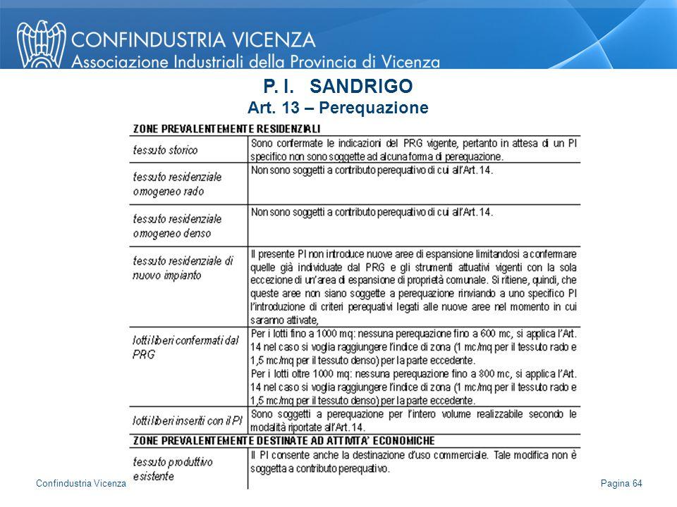 P. I. SANDRIGO Art. 13 – Perequazione Pagina 64 Confindustria Vicenza