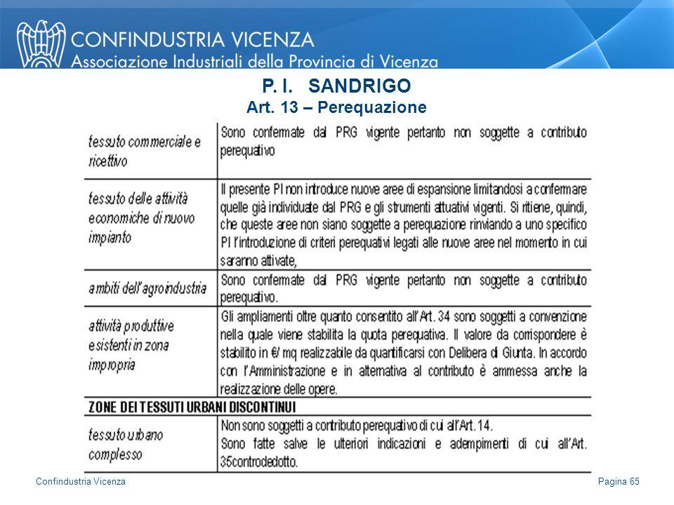 P. I. SANDRIGO Art. 13 – Perequazione Pagina 65 Confindustria Vicenza