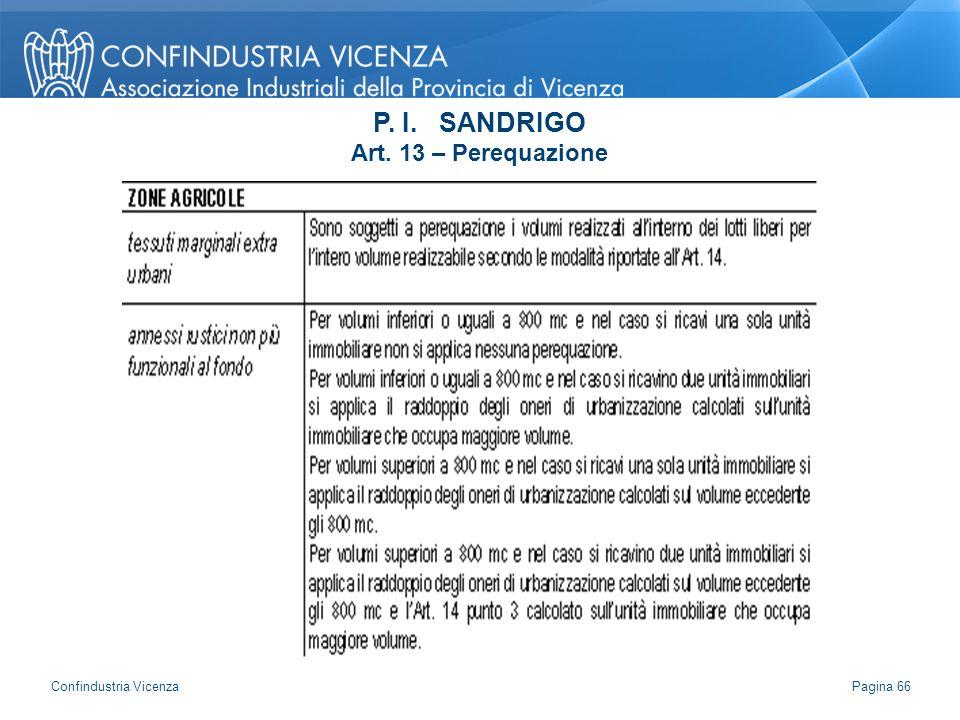 P. I. SANDRIGO Art. 13 – Perequazione Pagina 66 Confindustria Vicenza