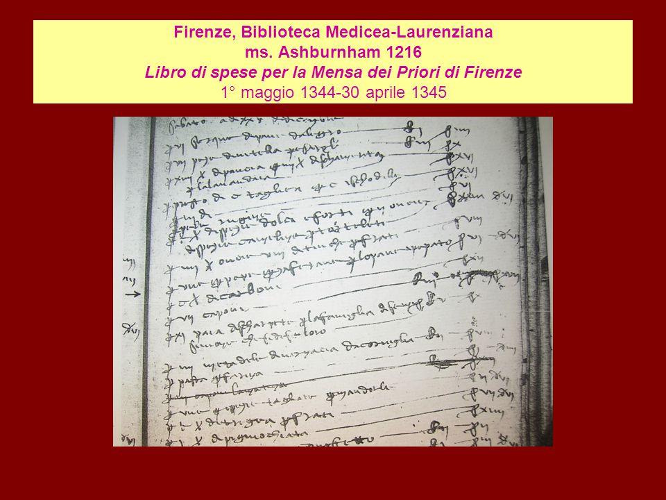 Firenze, Biblioteca Medicea-Laurenziana ms. Ashburnham 1216 Libro di spese per la Mensa dei Priori di Firenze 1° maggio 1344-30 aprile 1345