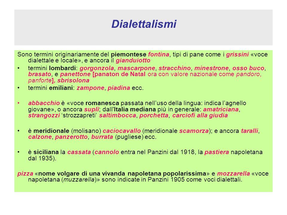 Dialettalismi Sono termini originariamente del piemontese fontina, tipi di pane come i grissini «voce dialettale e locale», e ancora il gianduiotto te