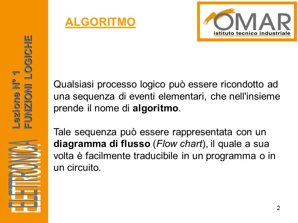 Qualsiasi processo logico può essere ricondotto ad una sequenza di eventi elementari, che nell'insieme prende il nome di algoritmo. Tale sequenza può