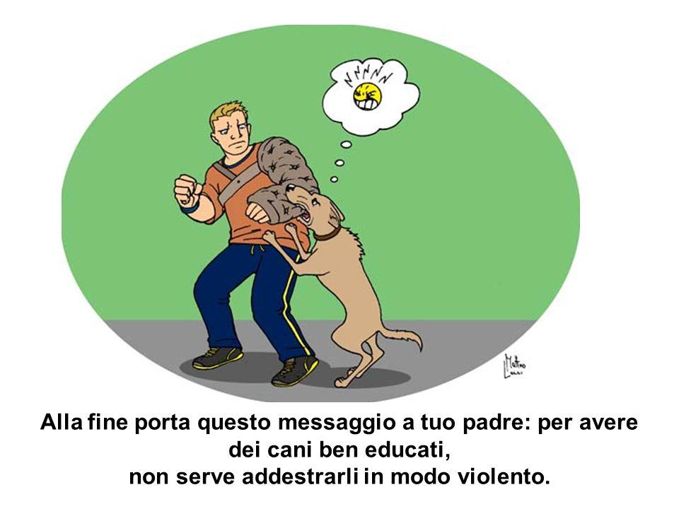 Alla fine porta questo messaggio a tuo padre: per avere dei cani ben educati, non serve addestrarli in modo violento.