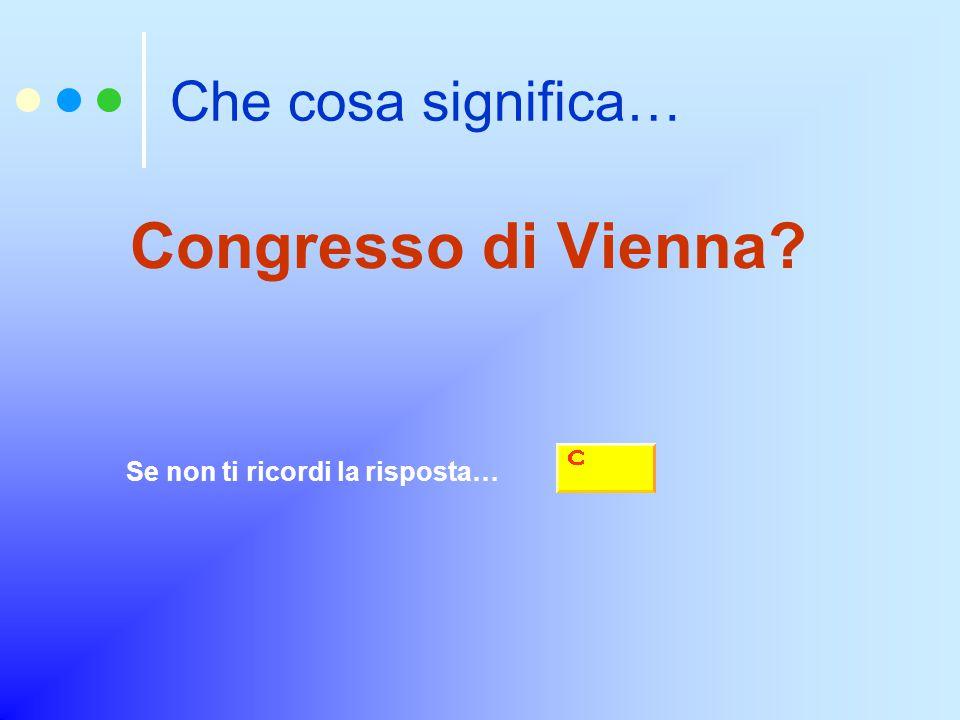 Che cosa significa… Congresso di Vienna? Se non ti ricordi la risposta…