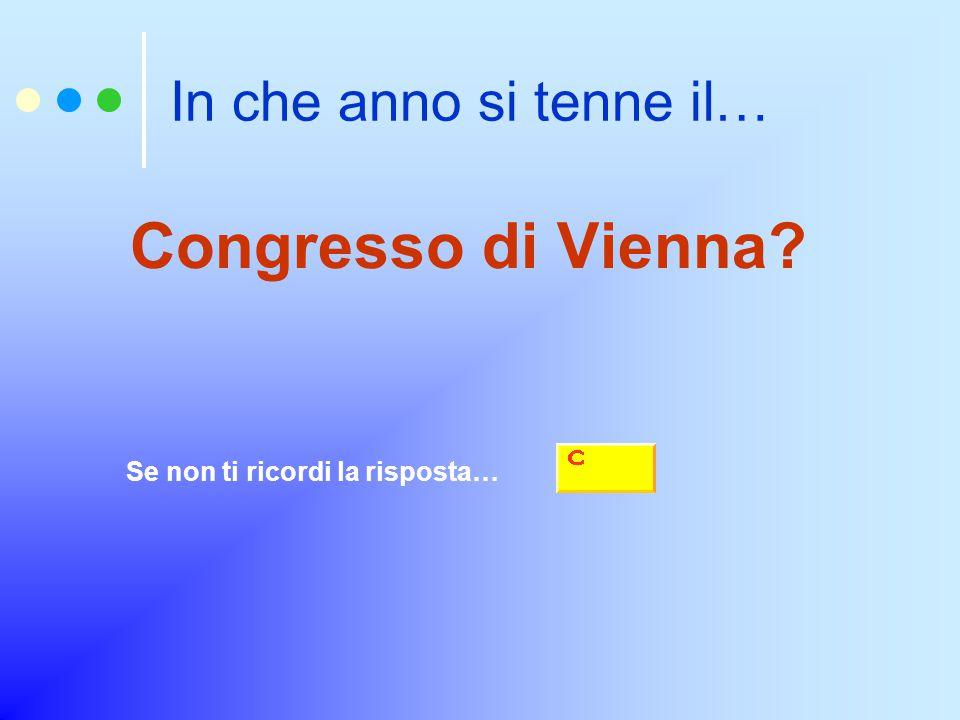 In che anno si tenne il… Congresso di Vienna? Se non ti ricordi la risposta…