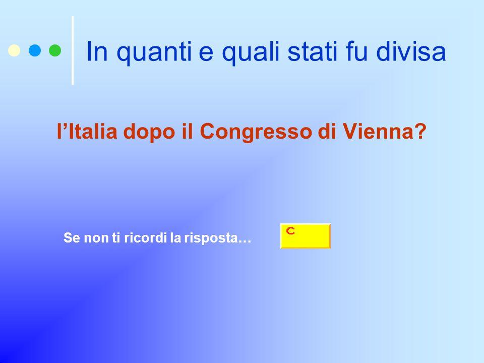 In quanti e quali stati fu divisa l'Italia dopo il Congresso di Vienna.