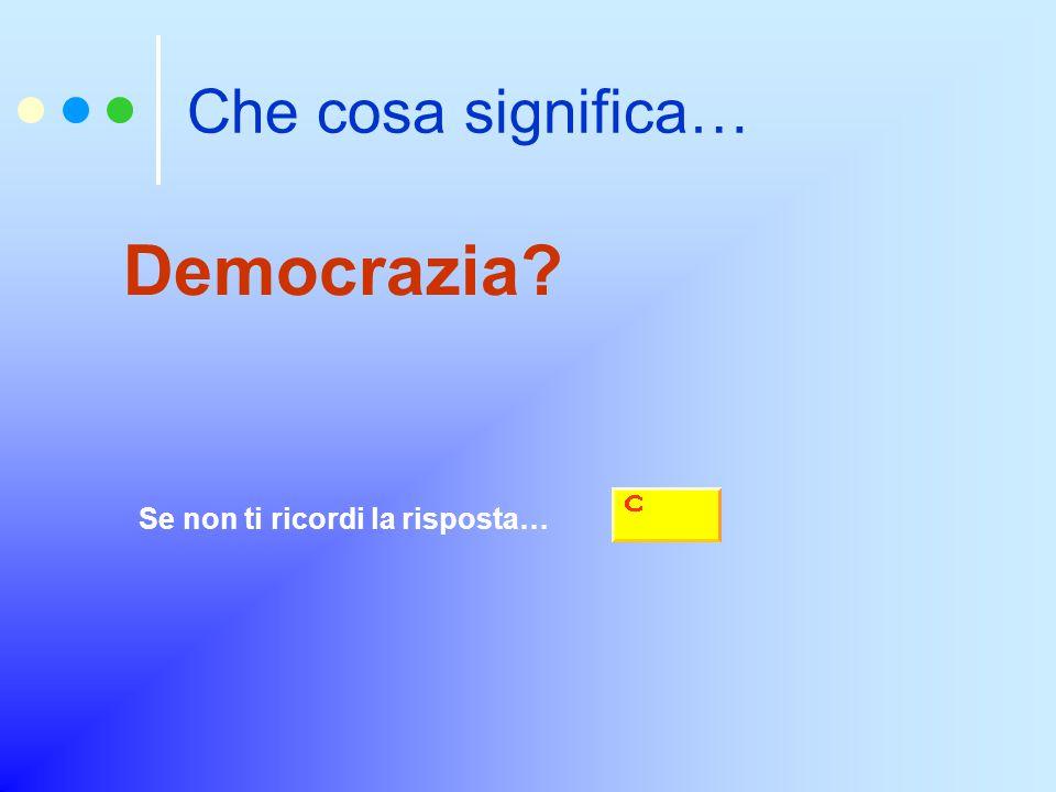 Che cosa significa… Democrazia? Se non ti ricordi la risposta…