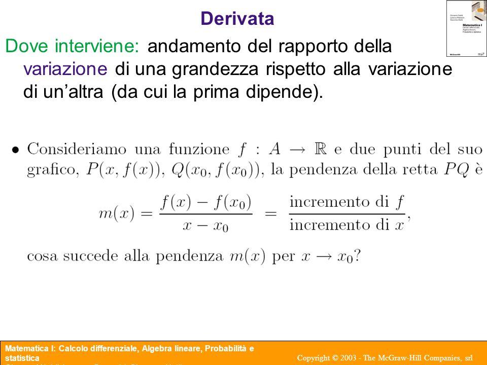Matematica I: Calcolo differenziale, Algebra lineare, Probabilità e statistica Giovanni Naldi, Lorenzo Pareschi, Giacomo Aletti Copyright © 2003 - The McGraw-Hill Companies, srl Teorema 3.5 (Teorema di Lagrange o del valor medio) Sia : [a, b] → R una funzione definita nell'intervallo chiuso [a, b] e tale che f è continua in [a, b]; f è derivabile in (a, b); allora esiste almeno un punto c ∈ (a, b) tale che Osservazione: i Teoremi di Rolle e di Lagrange sono Teoremi di esistenza, non dicono nulla riguardo all'unività.