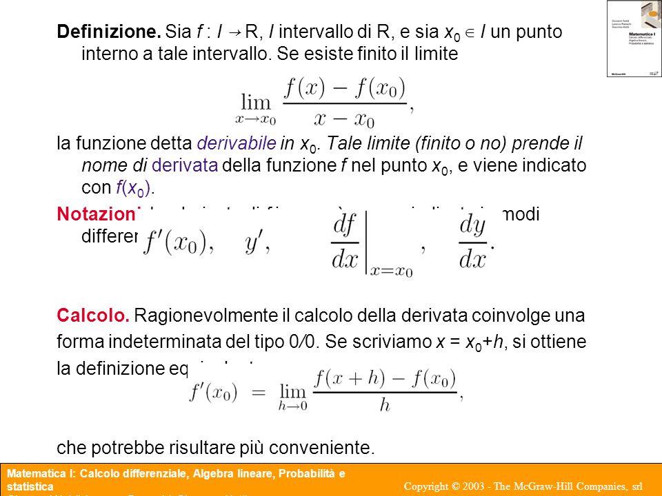 Matematica I: Calcolo differenziale, Algebra lineare, Probabilità e statistica Giovanni Naldi, Lorenzo Pareschi, Giacomo Aletti Copyright © 2003 - The McGraw-Hill Companies, srl Test della derivata prima Teorema 3.7 Sia f : (a, b) → R una funzione continua in (a, b), sia x 0 ∈ (a, b) un punto stazionario, f(x 0 ) = 0, oppure un punto singolare, ∃ f(x 0 ).