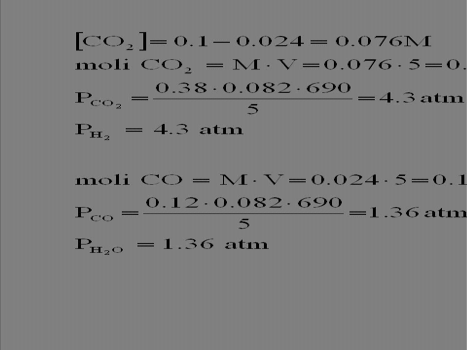 D6-12)La costante di equilibrio della reazione CO 2 (g) + H 2 (g) = CO(g) + H 2 O(g) è K = 0.10 a 690 K Qual è la pressione di equilibrio di ogni sost