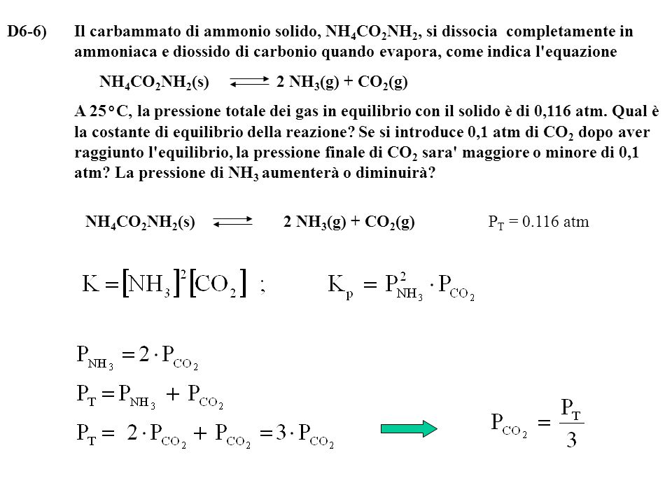 D6-6) Il carbammato di ammonio solido, NH 4 CO 2 NH 2, si dissocia completamente in ammoniaca e diossido di carbonio quando evapora, come indica l equazione NH 4 CO 2 NH 2 (s) 2 NH 3 (g) + CO 2 (g) A 25°C, la pressione totale dei gas in equilibrio con il solido è di 0,116 atm.
