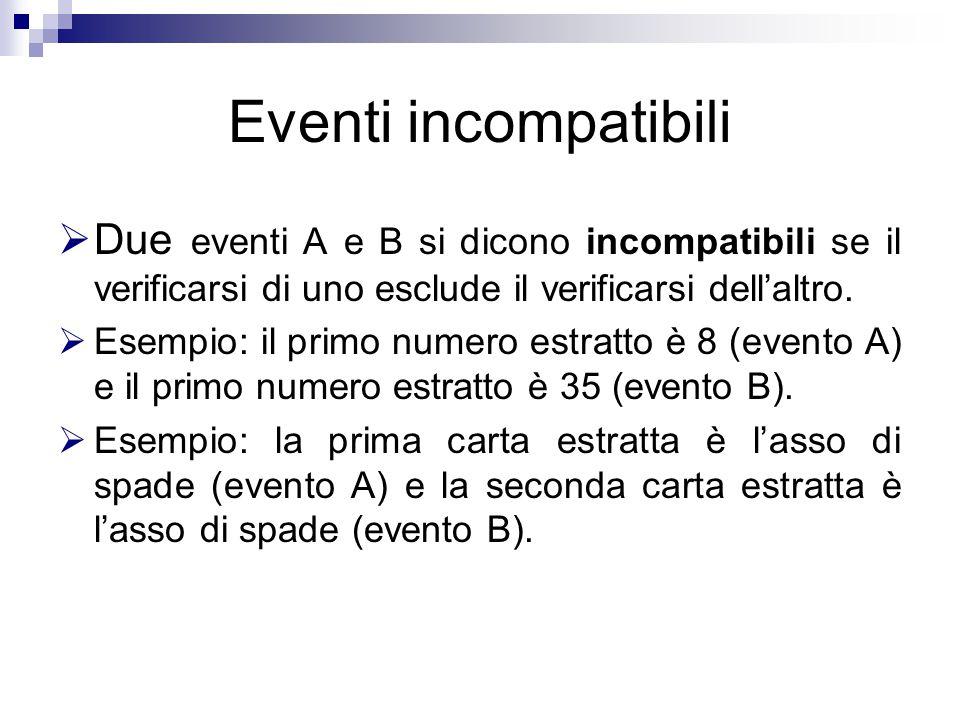 Eventi incompatibili  Due eventi A e B si dicono incompatibili se il verificarsi di uno esclude il verificarsi dell'altro.