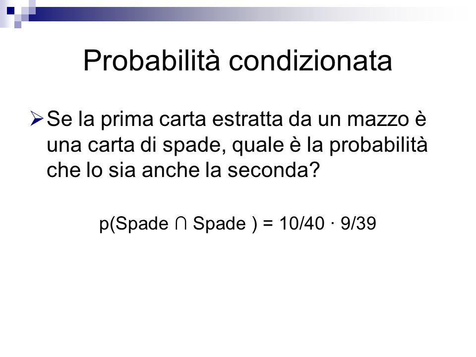 Probabilità condizionata  Se la prima carta estratta da un mazzo è una carta di spade, quale è la probabilità che lo sia anche la seconda.