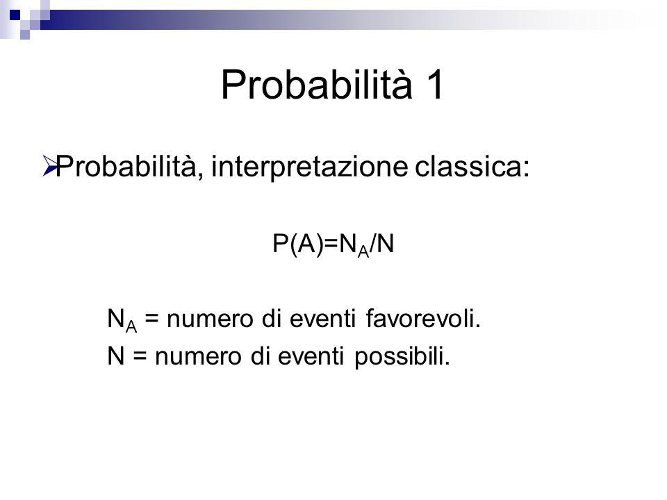 Probabilità 1  Probabilità, interpretazione classica: P(A)=N A /N N A = numero di eventi favorevoli. N = numero di eventi possibili.