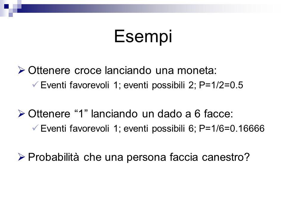 Esempi  Ottenere croce lanciando una moneta: Eventi favorevoli 1; eventi possibili 2; P=1/2=0.5  Ottenere 1 lanciando un dado a 6 facce: Eventi favorevoli 1; eventi possibili 6; P=1/6=0.16666  Probabilità che una persona faccia canestro