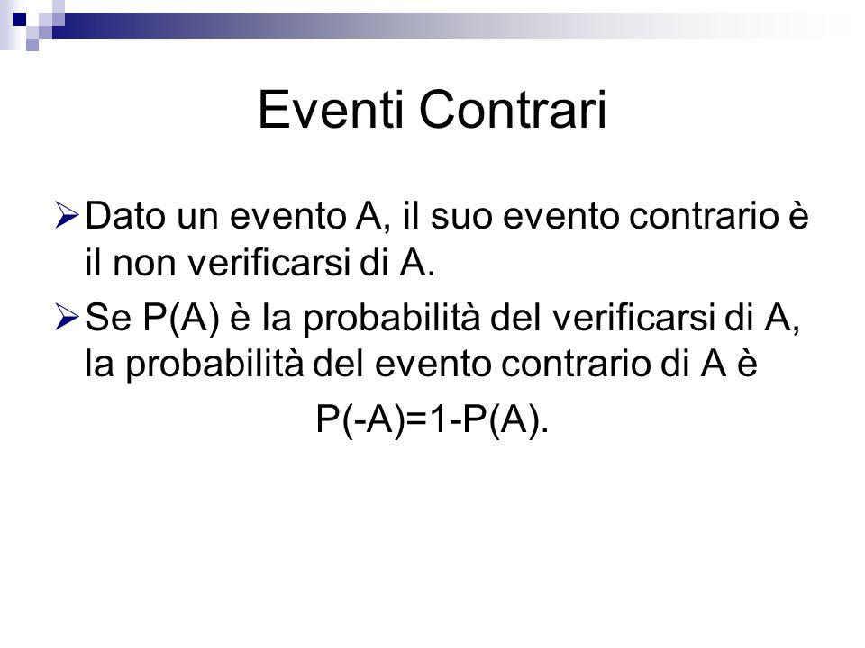 Eventi Contrari  Dato un evento A, il suo evento contrario è il non verificarsi di A.