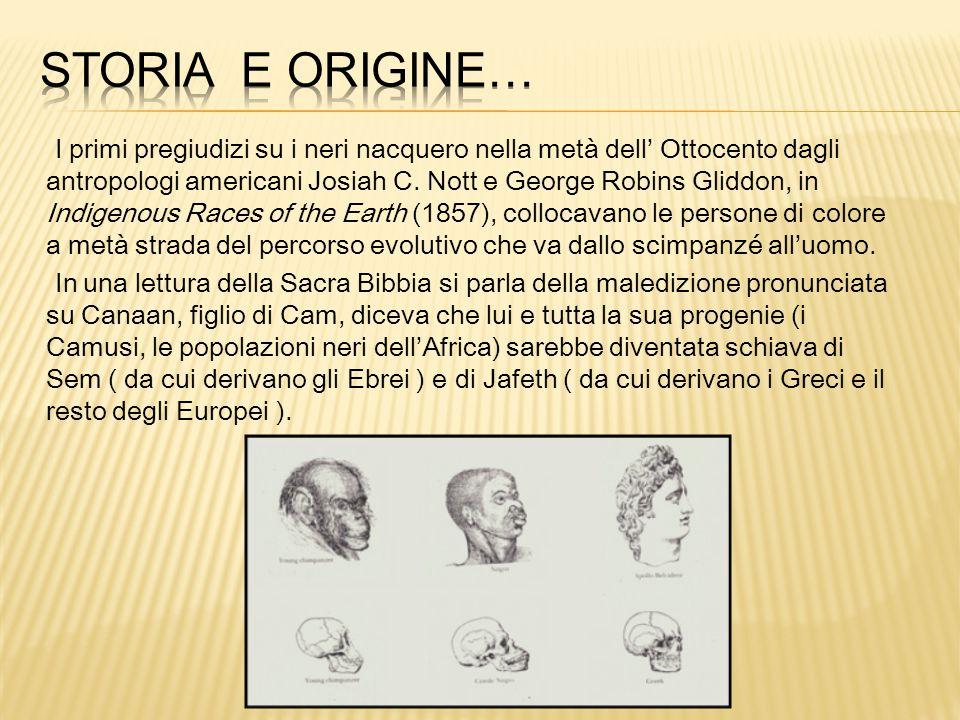 I primi pregiudizi su i neri nacquero nella metà dell' Ottocento dagli antropologi americani Josiah C.