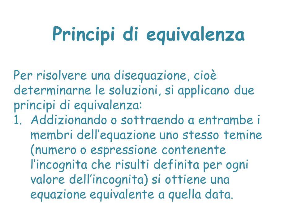 Principi di equivalenza Per risolvere una disequazione, cioè determinarne le soluzioni, si applicano due principi di equivalenza: 1.Addizionando o sot