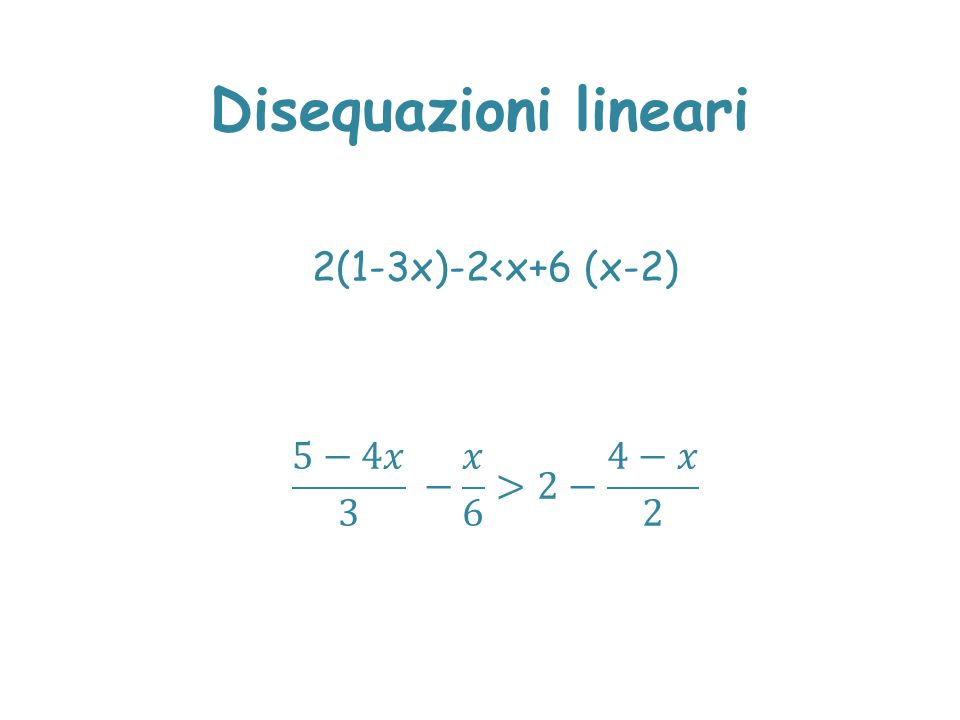 Disequazioni lineari