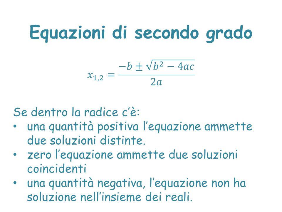 Se dentro la radice c'è: una quantità positiva l'equazione ammette due soluzioni distinte. zero l'equazione ammette due soluzioni coincidenti una quan