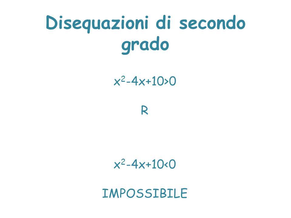 Disequazioni di secondo grado x 2 -4x+10>0 R x 2 -4x+10<0 IMPOSSIBILE