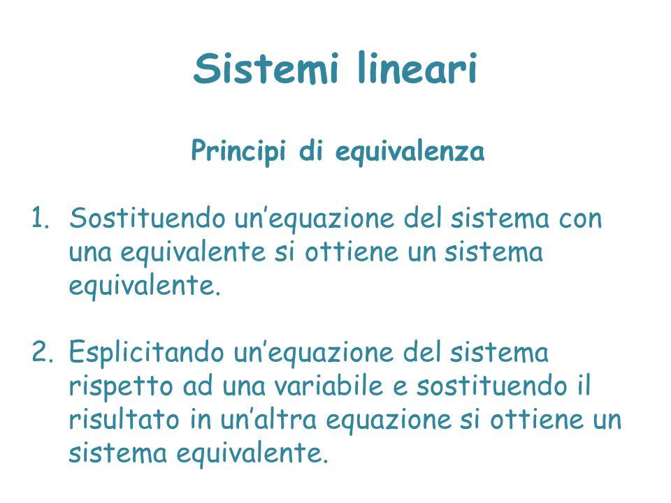 Sistemi lineari Principi di equivalenza 1.Sostituendo un'equazione del sistema con una equivalente si ottiene un sistema equivalente. 2.Esplicitando u
